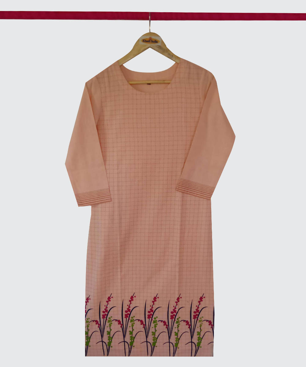 Light Orange Print Handspun Handwoven Cotton Kurti