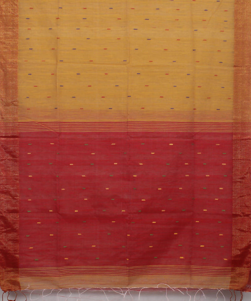 Bengal Handloom Yellow Red Cotton Saree