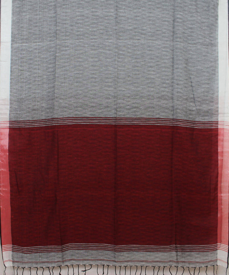 Grey Maroon Bengal Handwoven Cotton Saree