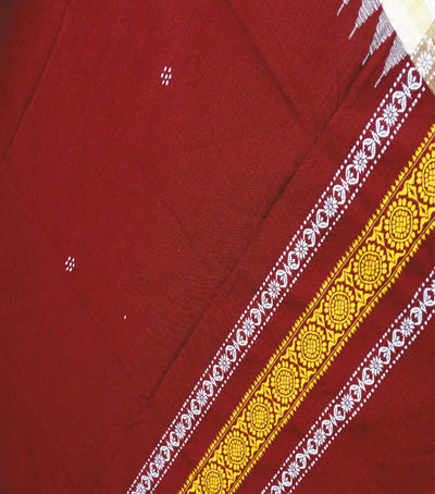 Exclusive Maroon And Deep LemonWhiteSandal Traditional Woolen And Cotton Shawl