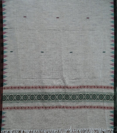 Exclusive Off White And MaroonBottle Green Traditional Cotton with Discous Shawl
