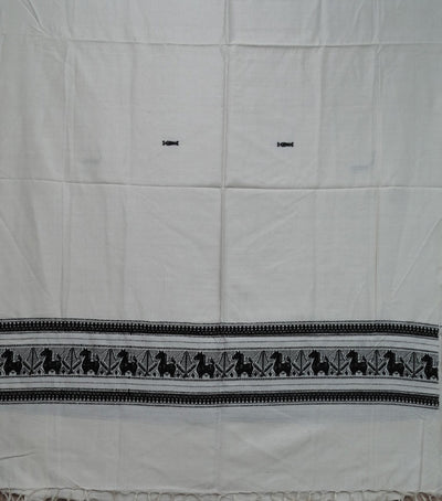 Exclusive Cream And Black Fish Motifs Traditional Ari Silk Shawl