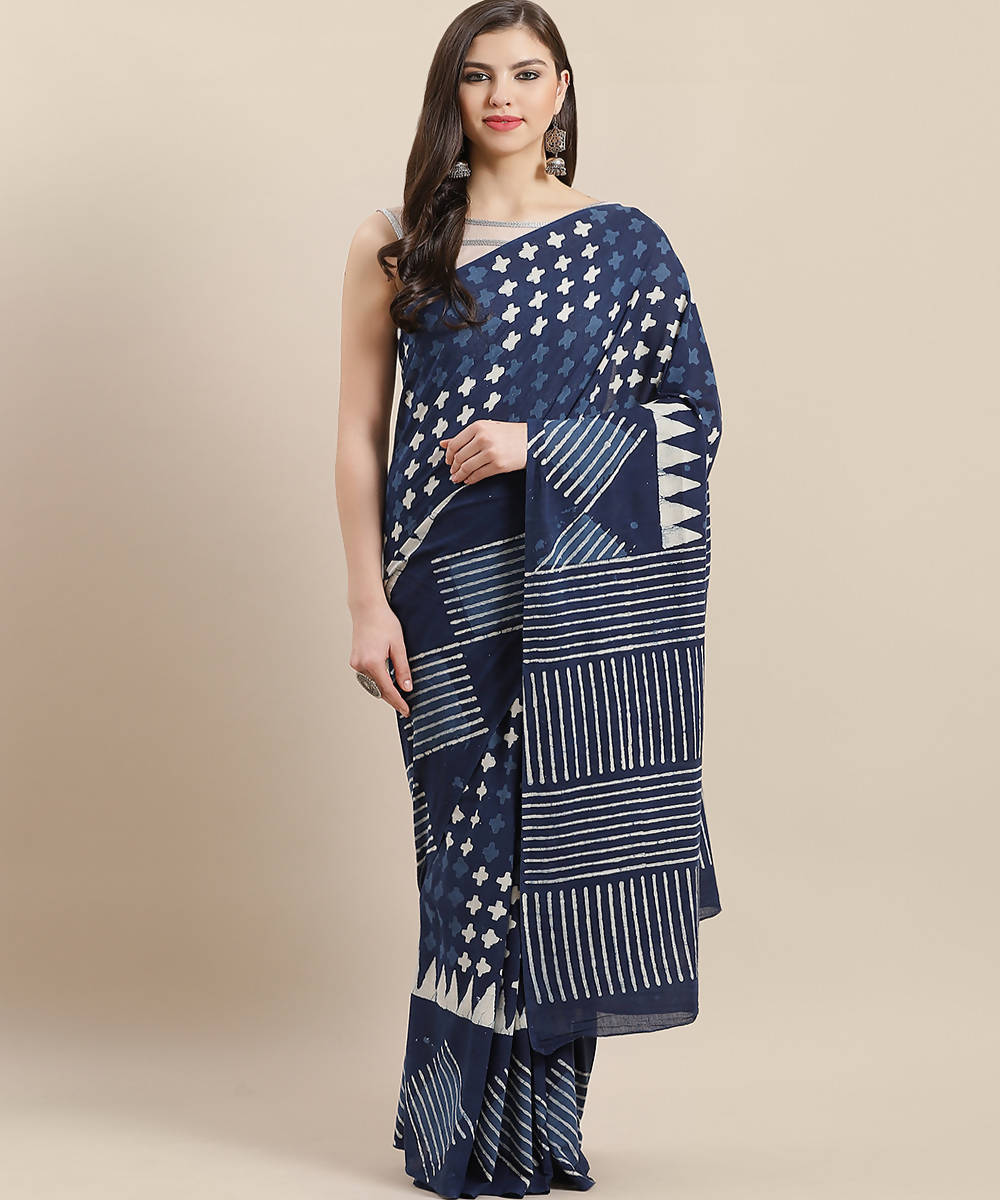 Indigo Blue Hand Print Cotton Saree