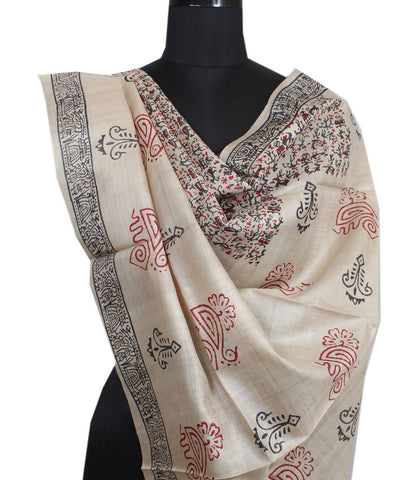 Beige and Black Handloom Tussar Silk Dupatta