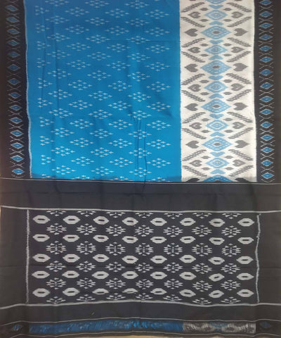 Blue black handwoven cotton ikat pochampally saree
