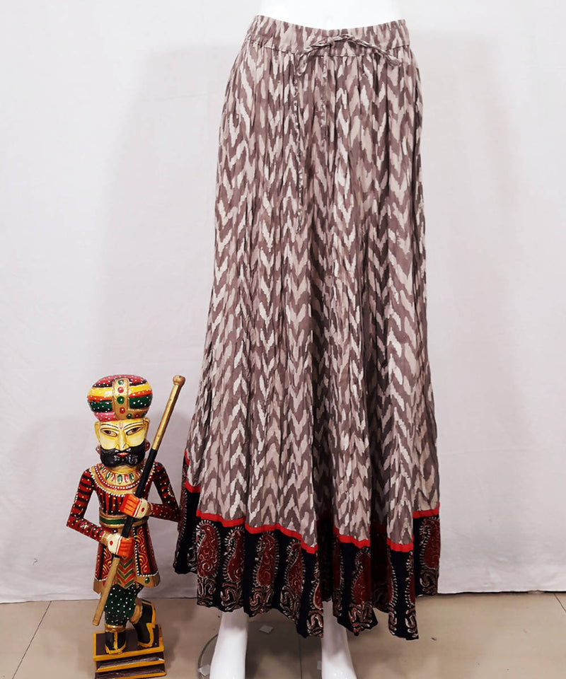 Brown dabu print with kalamkari border cotton crinkled skirt