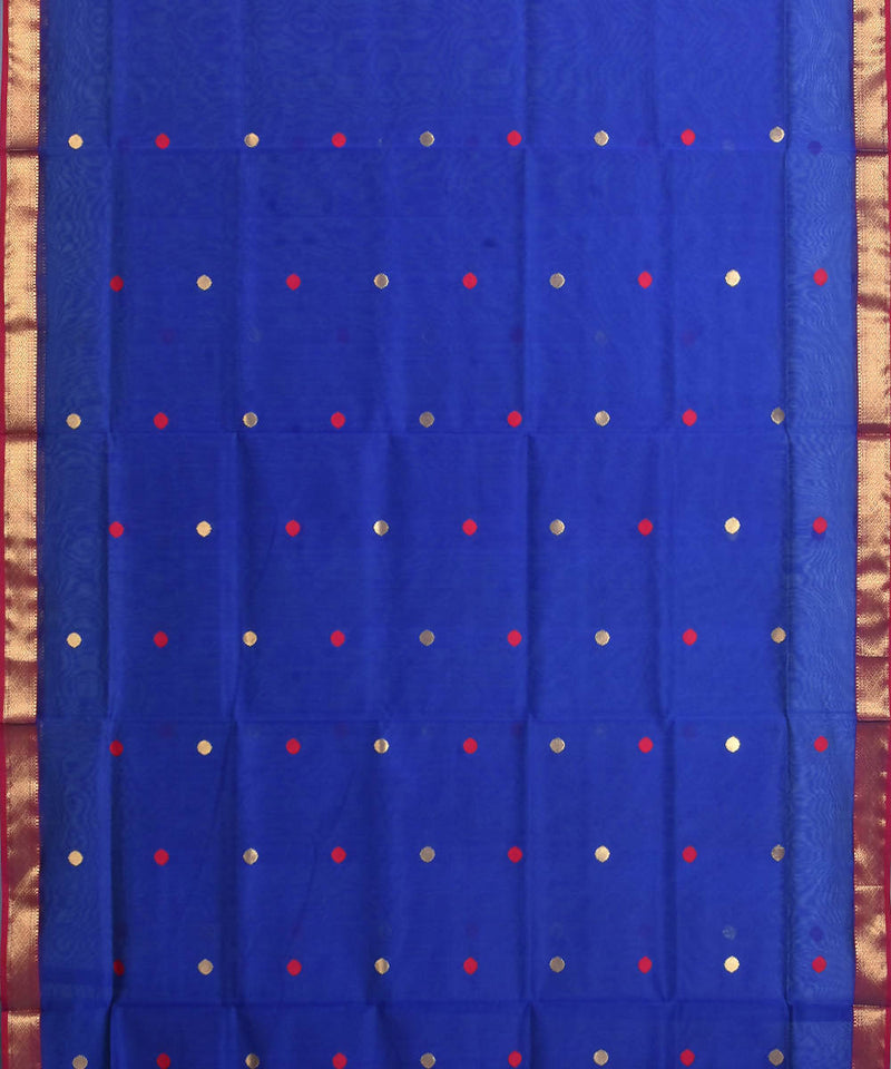 Maheshwari Royal Blue Handloom Sico Saree