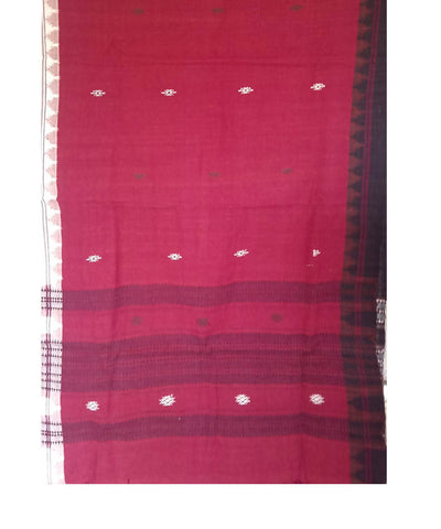 Maroon Handwoven Cotton Natural Dyed Kotpad Stole