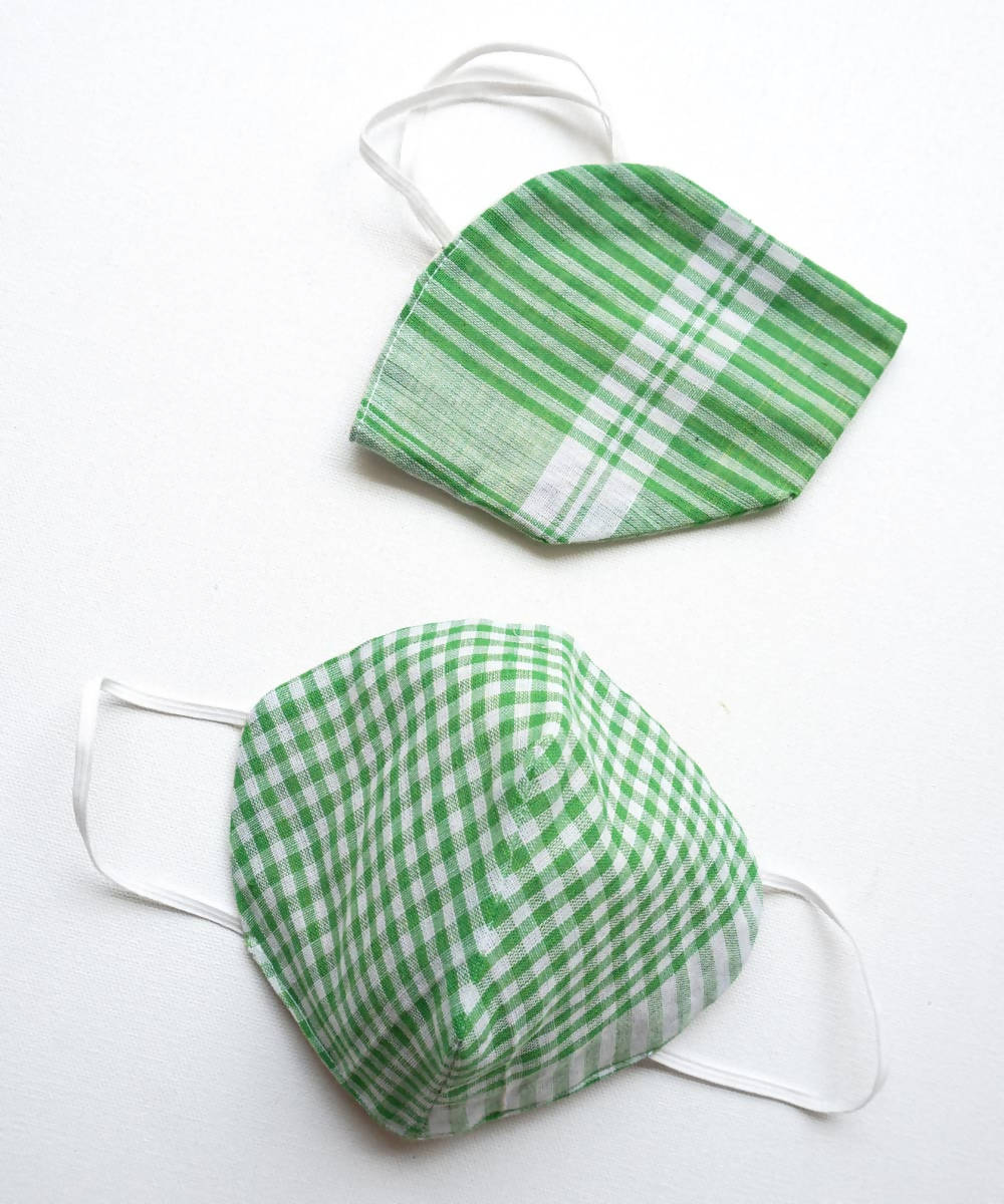 Green Striped Three Layered Handwoven Cotton Mask 6, 10, 20 nos