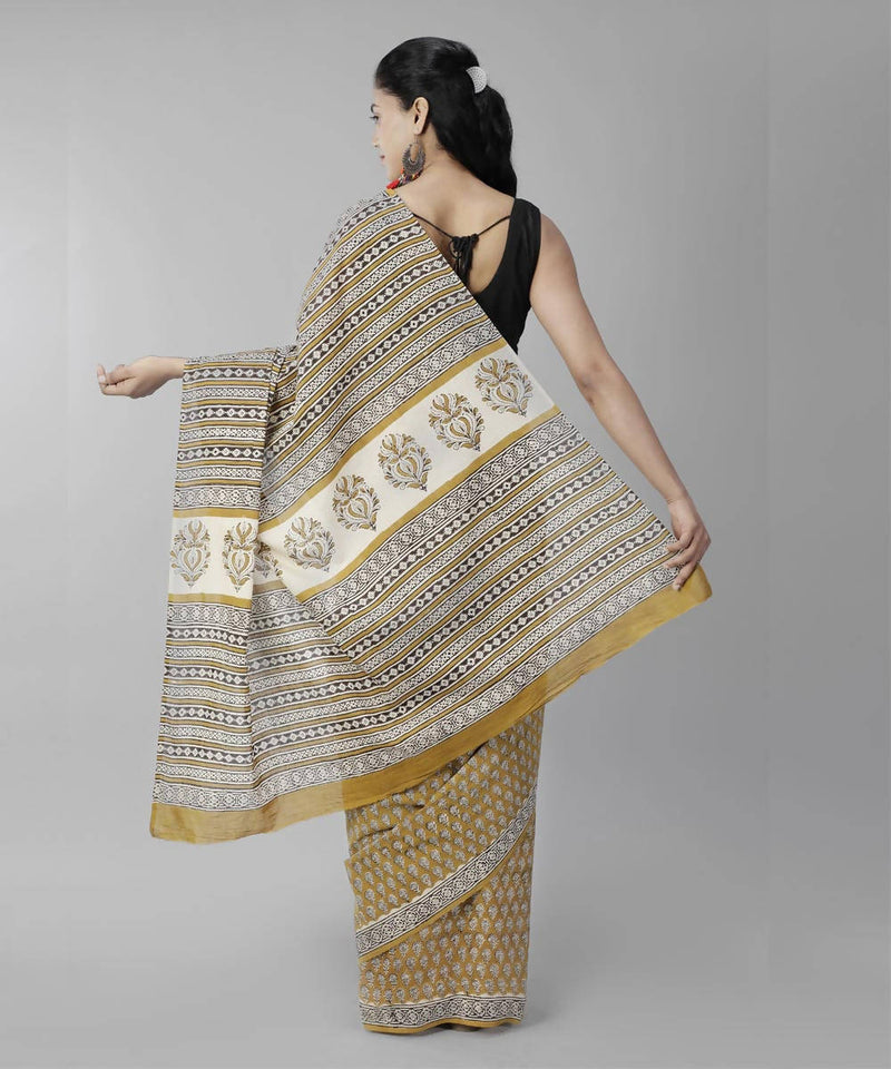 Mustard brown bagru handblock printed cotton saree