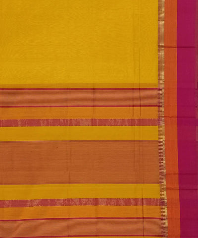 Maheshwari Golden Yellow Handloom Cotton Silk Saree
