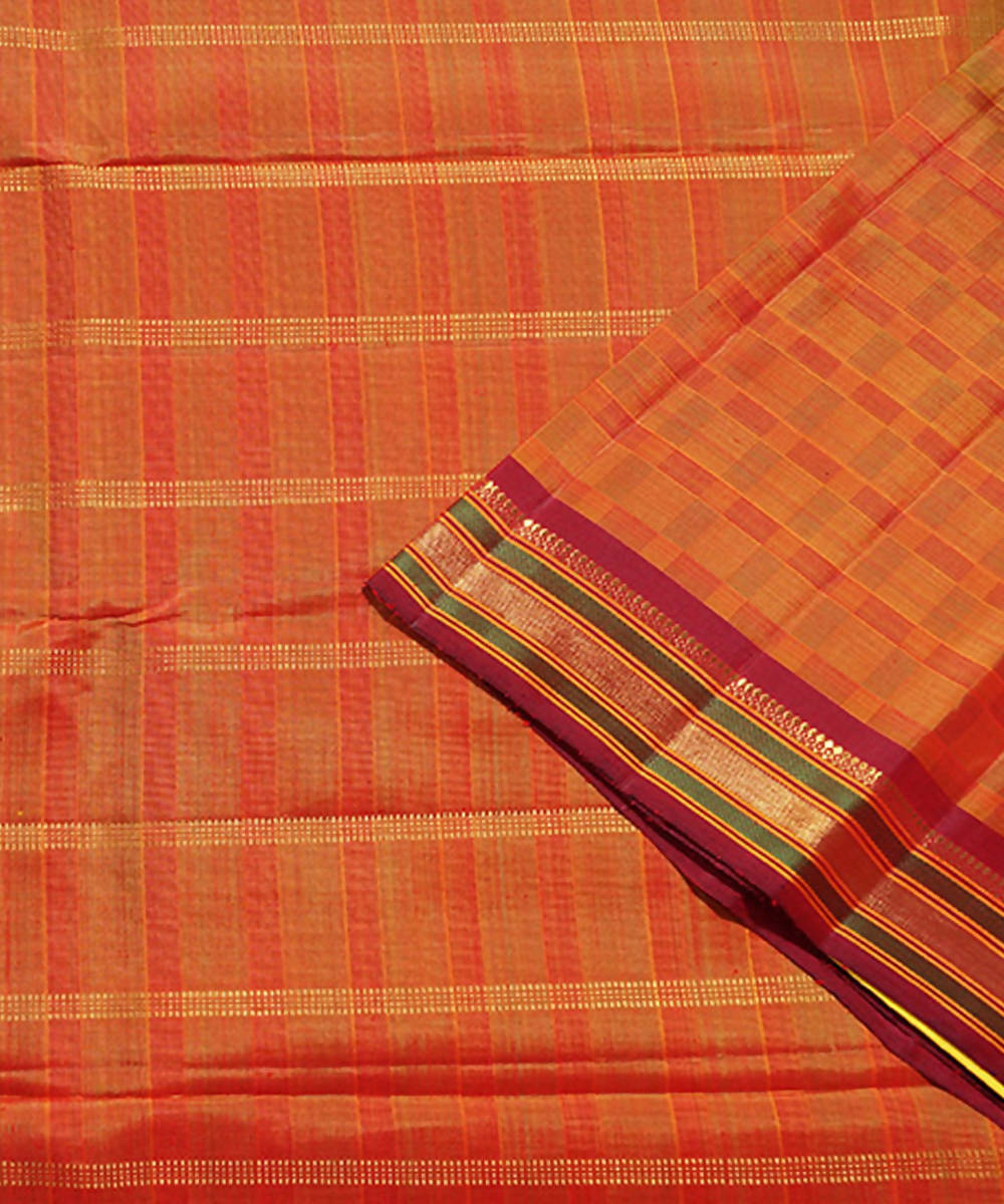 Brown Handloom Kancheepuram Silk Saree