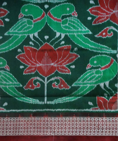 Sambalpuri Ikat Green Silk Handloom Saree