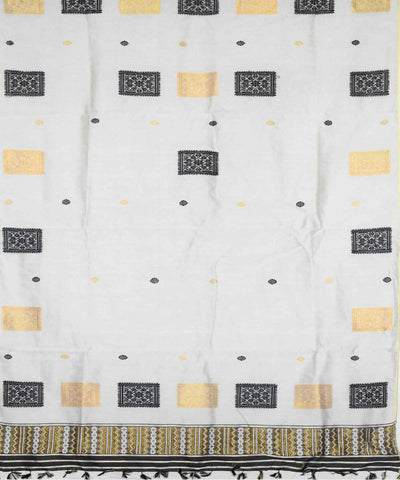White Box Motif Assam Cotton Mekhela Chador