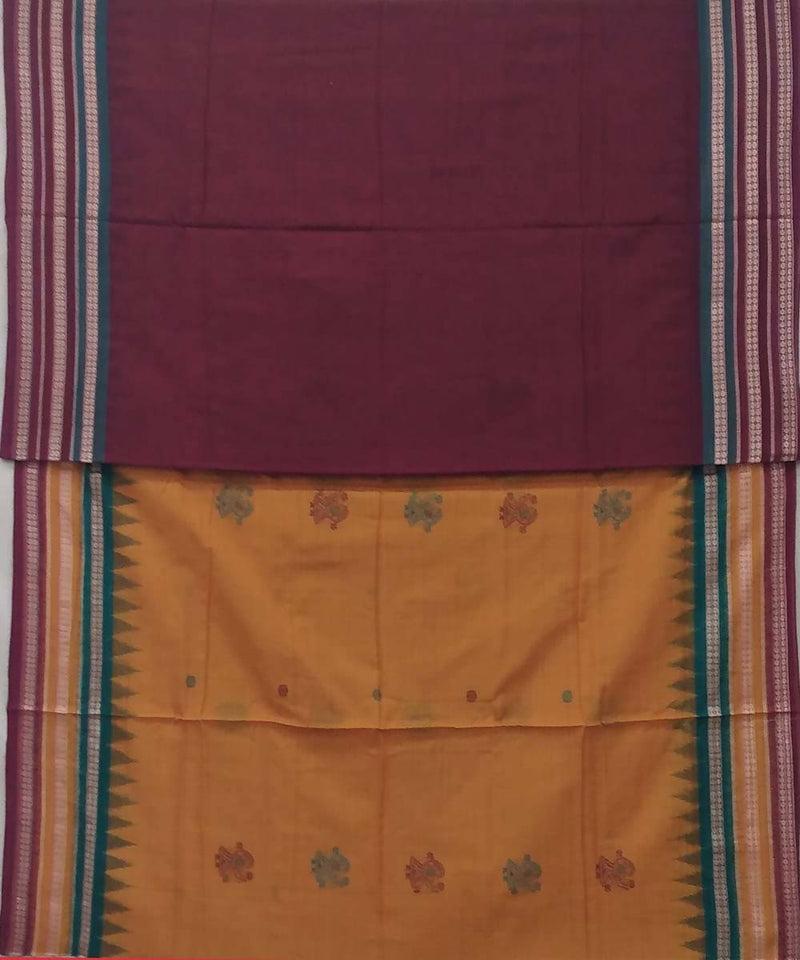 Golden mustard handwoven bomkai cotton saree