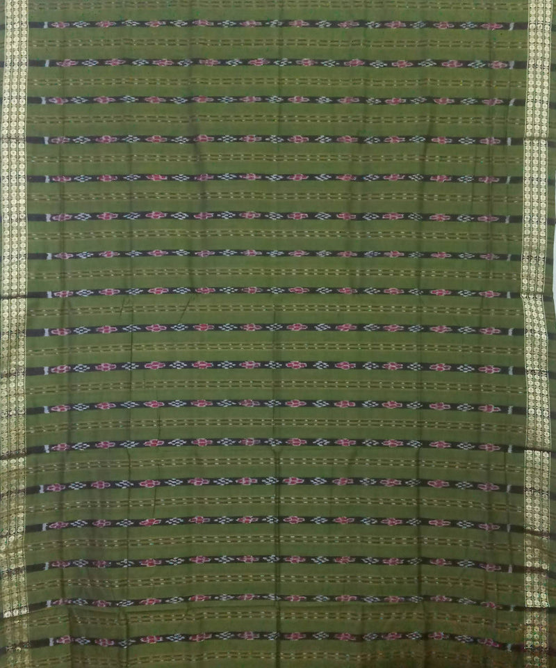 Green and Brown Handloom Bomkai Cotton Saree