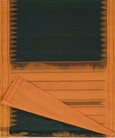 Dark green handloom kanchi cotton saree mustard silk korvai temple border
