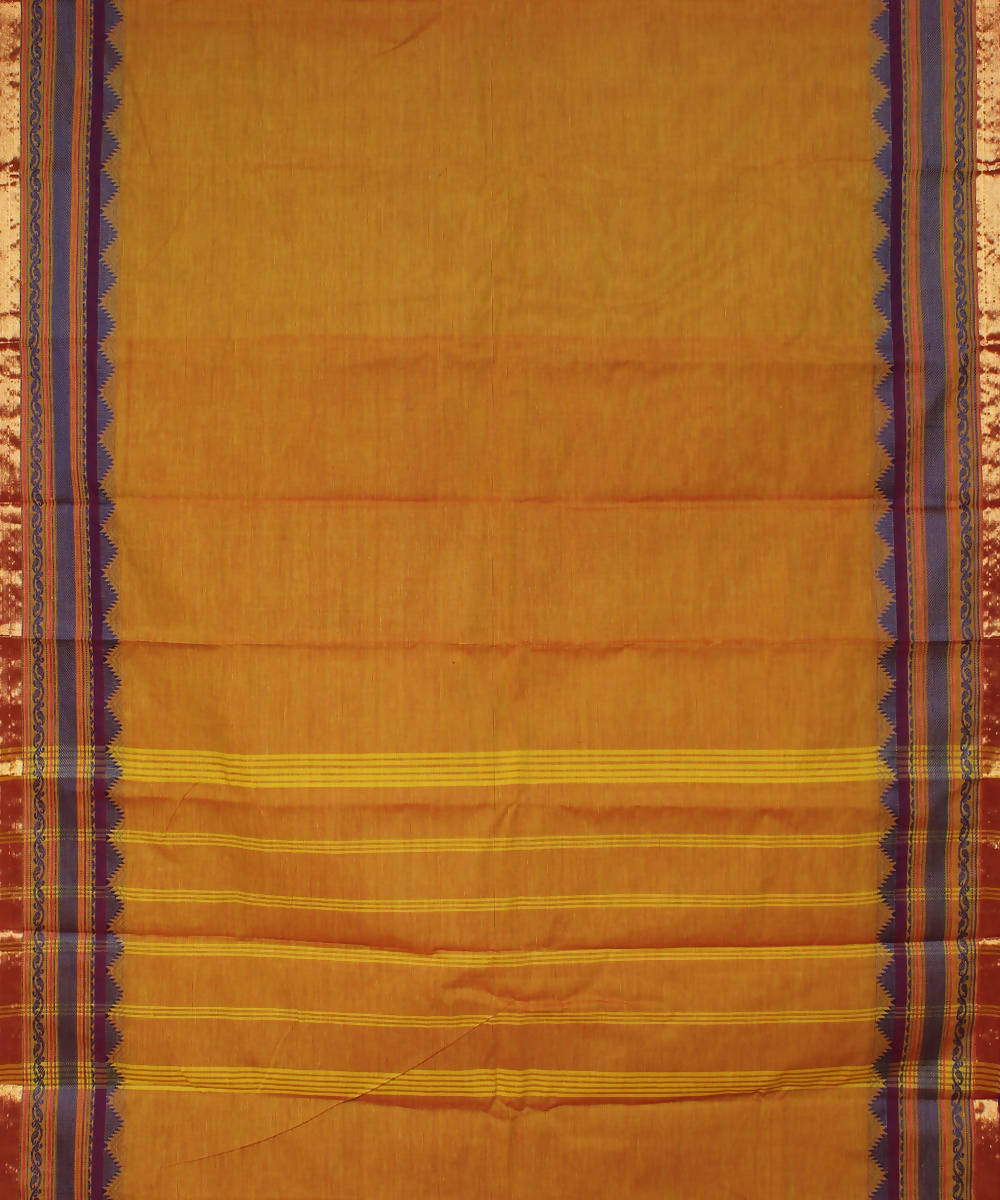 Mustard Handloom Cotton Saree
