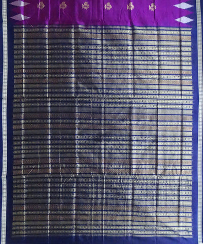 French Plum Silk Bomkai Handloom Saree