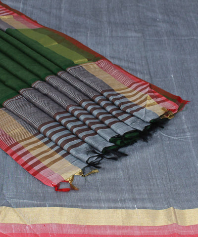 Grey Handloom Handspun Cotton Saree