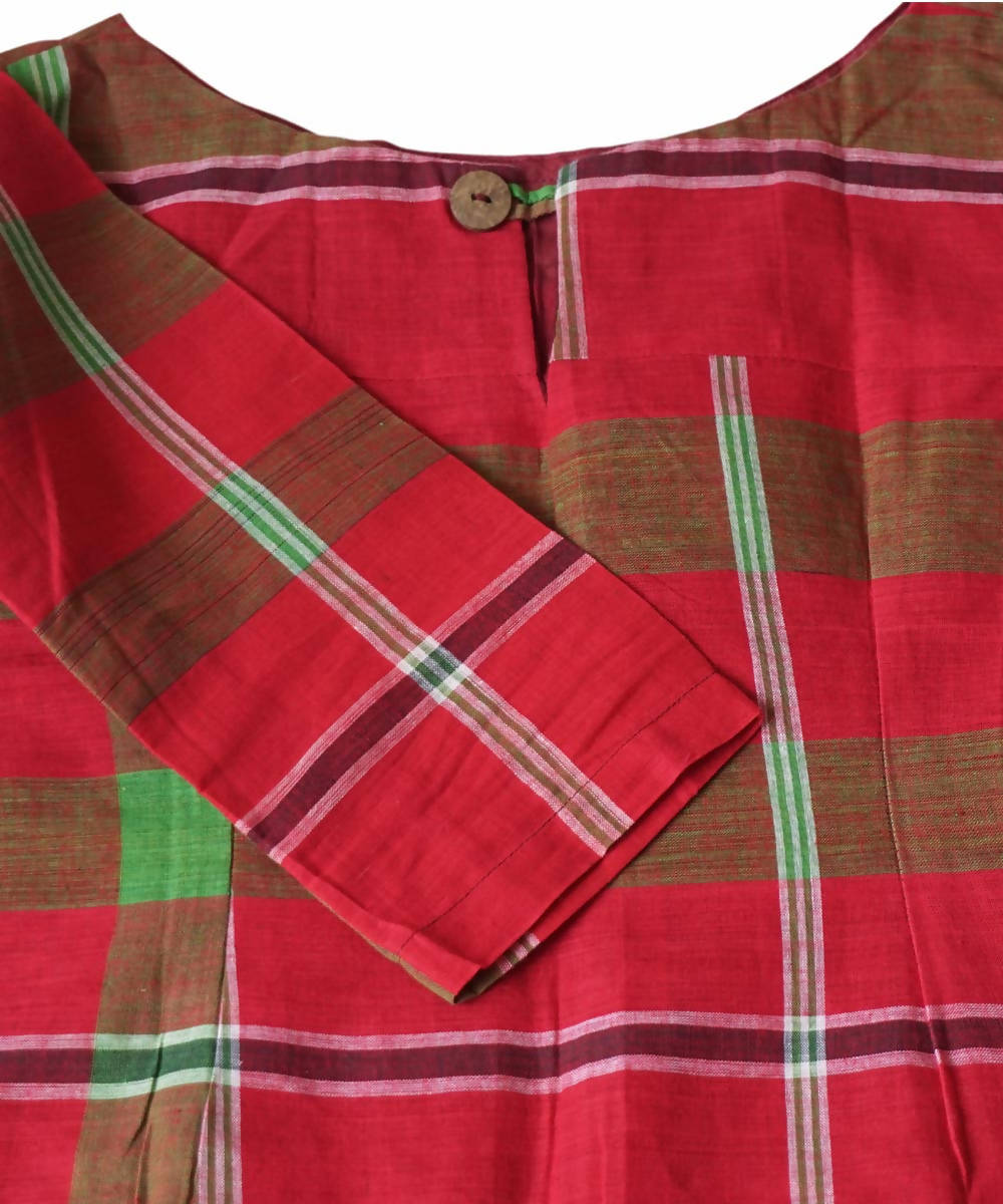 Handloom Red Green Gamcha Checks Cotton Crop Top Blouse