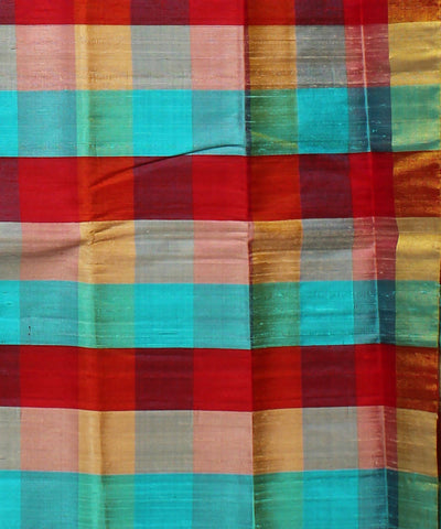 Green Checks Khadi Handloom Silk Saree