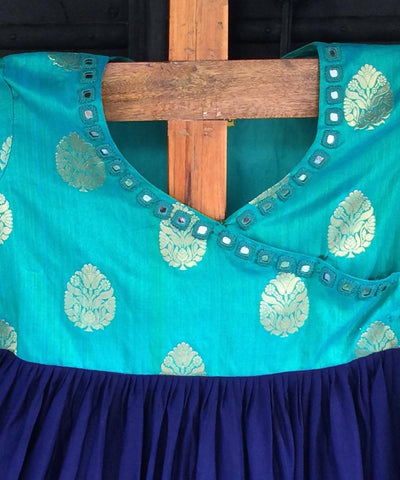 Turquoise and navy Hand embroidery angrakha  jacket