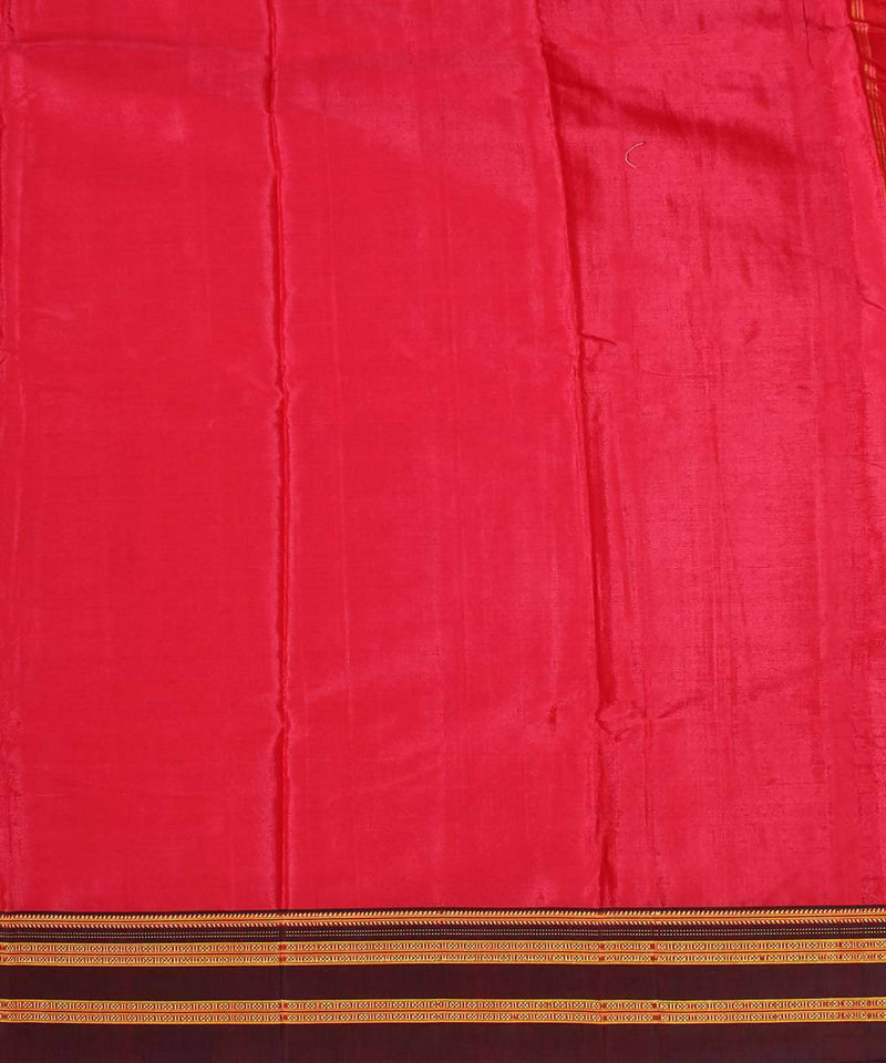Apple red handwoven black chikki paras border ilkal saree