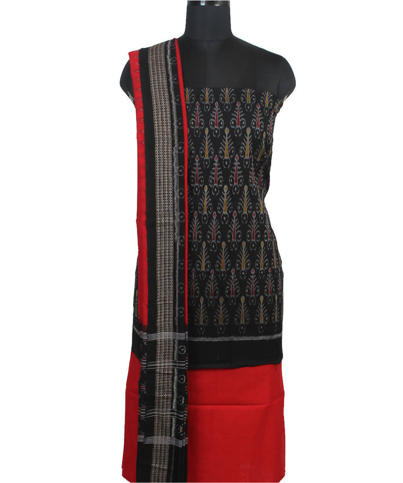 Sambalpuri Handloom Black Red Cotton Suit Set
