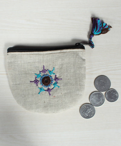 White Lambani Hand Embroidery Cotton Coin Pouch