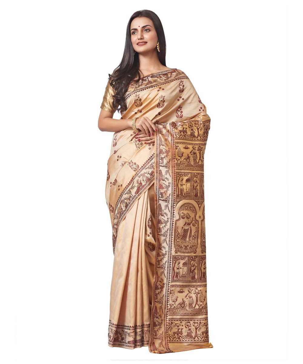 Biswa bangla handloom baluchari silk saree in beige with jari meena work