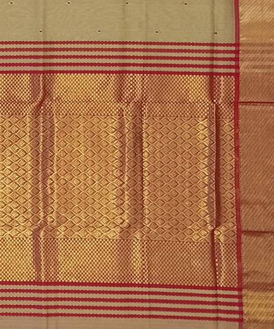 Maheshwari Beige Handwoven Cotton Silk Saree