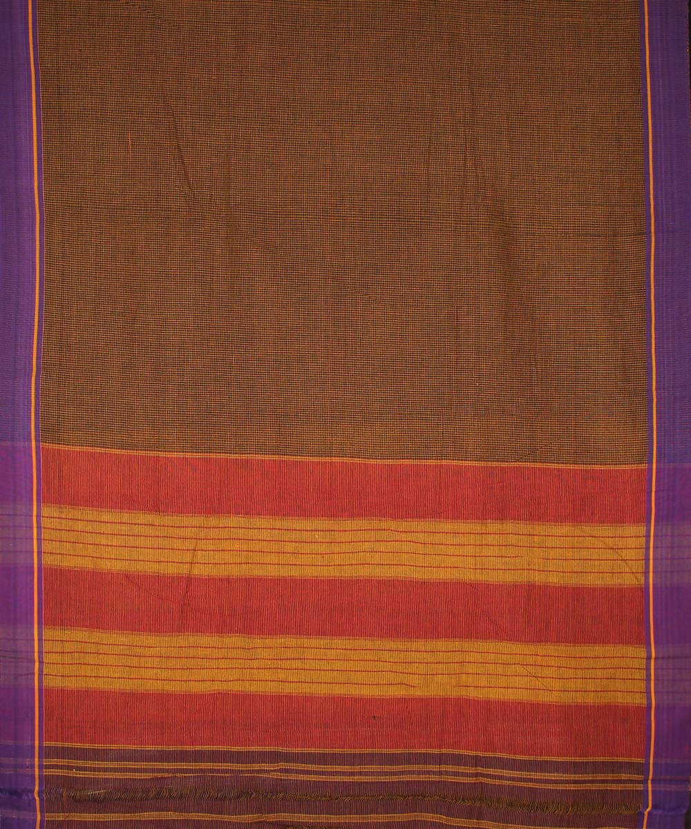 Black mustard checks patteda anchu cotton handwoven saree