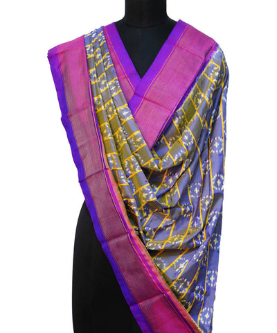 Dual Color Handloom Pochampally Silk Dupatta