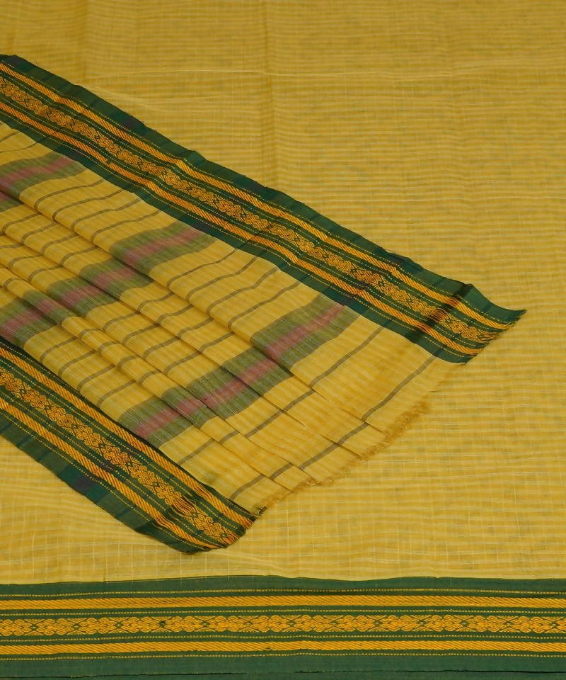 Yellow Handloom Narayanpet Cotton Saree