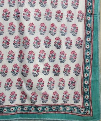 Floral Motif Handblock Printed White Cotton Double Dohar