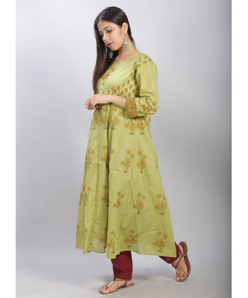 Pista green hand block printed anarkali cotton kurti