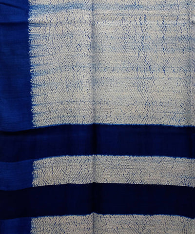 white and blue Shibori hand print Matka silk Saree