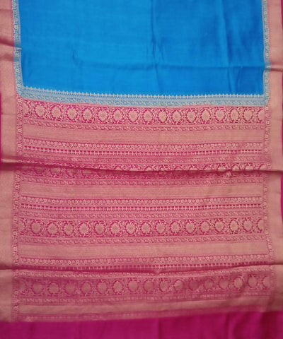Banarasi Blue and Magenta Pink Handloom Silk Saree