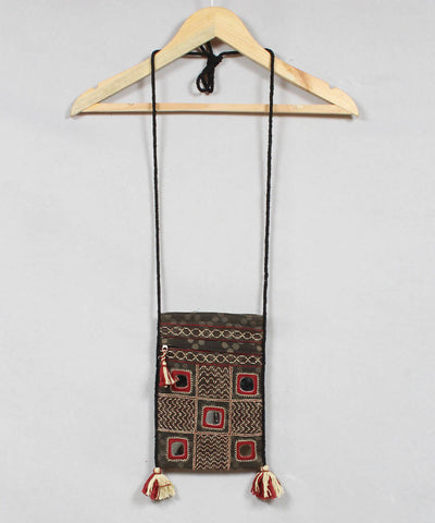 Grey Lambani Embroidery Cloth Sling Bag