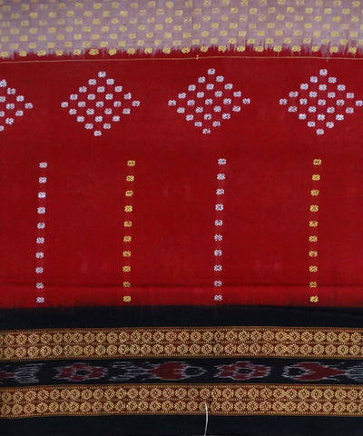 Red Bomkai Handloom Cotton Saree