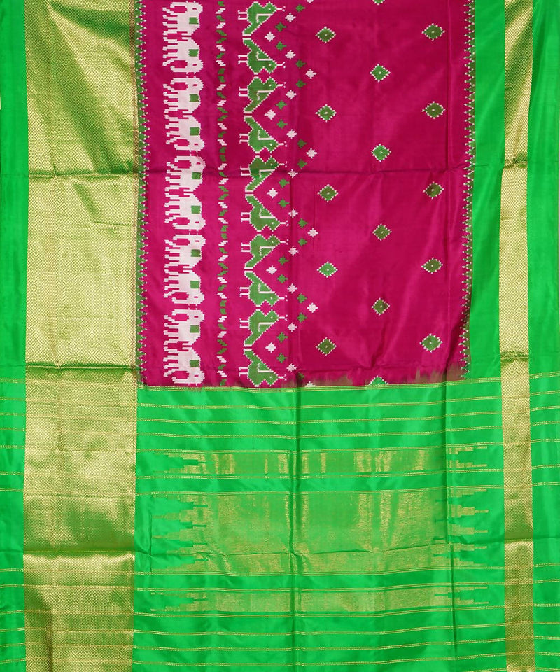 Magenta Green Handloom Pochampally Silk Saree