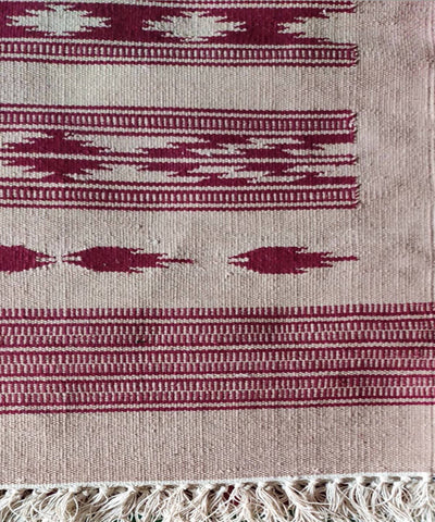 White and Red Handwoven Interlock Cotton Dhurrie