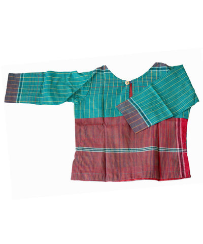 Sea Green Handloom Gamcha Checks Cotton Crop Top Blouse