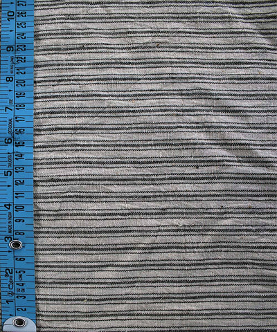 Black white stripes Handwoven Organic kala cotton fabric