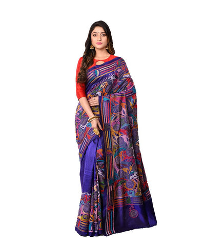 Bengal Blue Handcrafted Kantha Stitch Saree