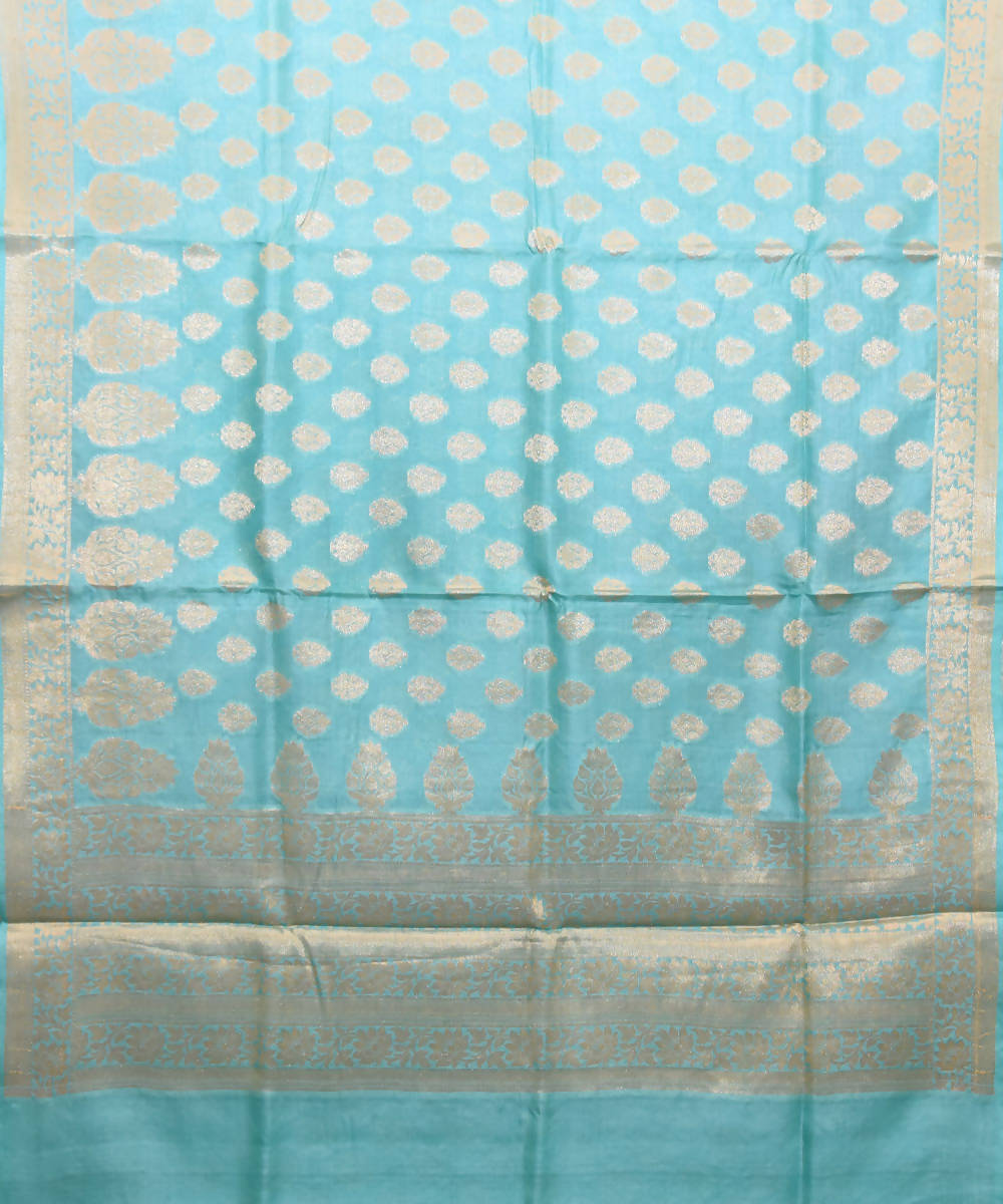 Sky Blue Banarasi Handwoven Silk Saree