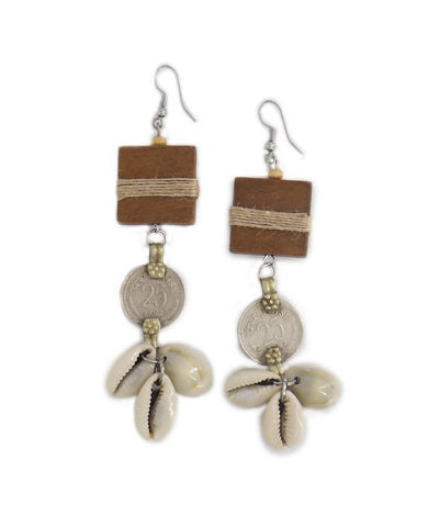 handcrafted wood and coin Tribe Vibe earrings