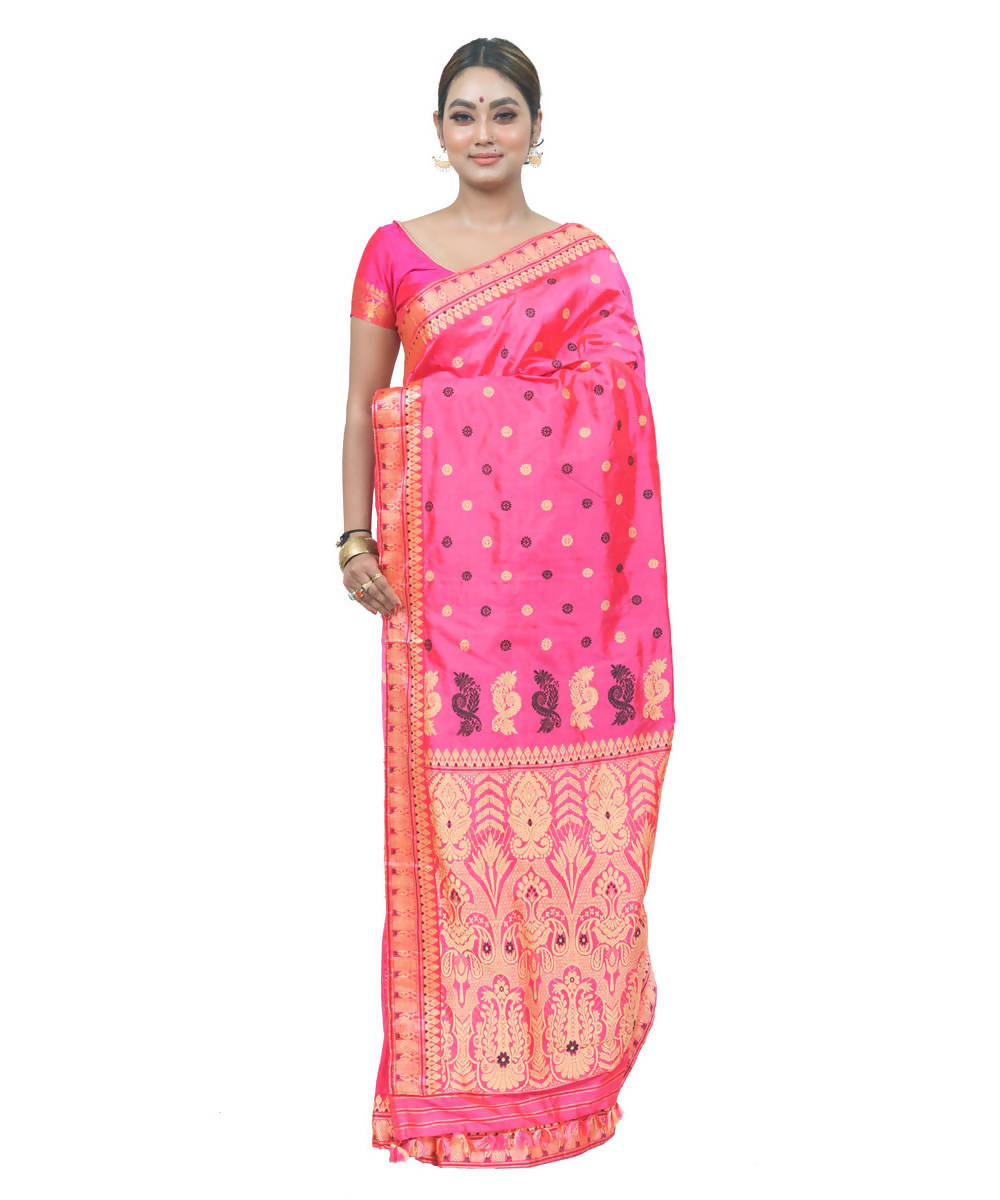 Peach pink handwoven assam silk saree