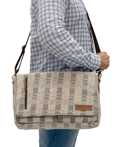 Grey Handwoven Cotton Laptop Messenger Bag